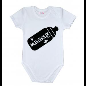 mlekoholik body niemowlece z śmiesznym napisem